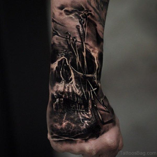 Matthew James Hand Skull Tattoo