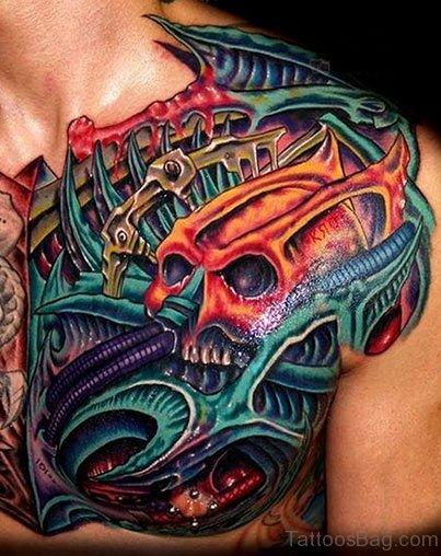 Mechanical Skull Tattoo On Chest