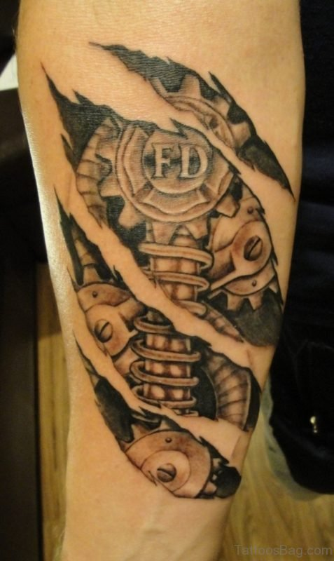 Mechanical Tattoo Design On Arm