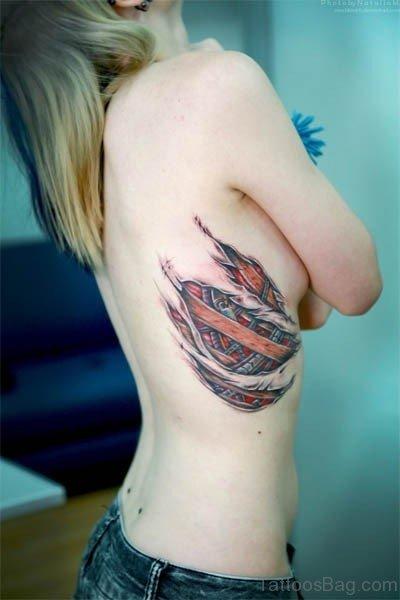 Mechanical Tattoo Design On Rib
