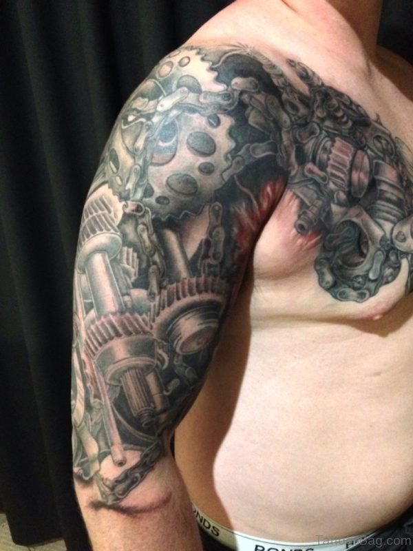 Mechanical Tattoo On Chest