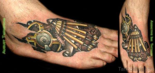 Mechanical Tattoo On Foot