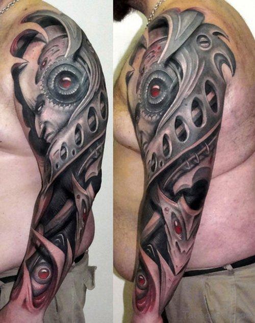 Mechanical Tattoo On Full Sleeve