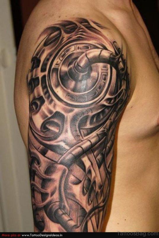 Mechanical Tattoo On Shoulder