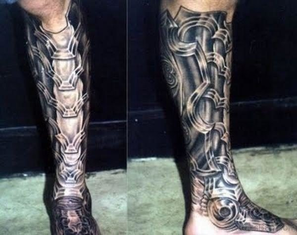 Mechanical Tattoo On Leg