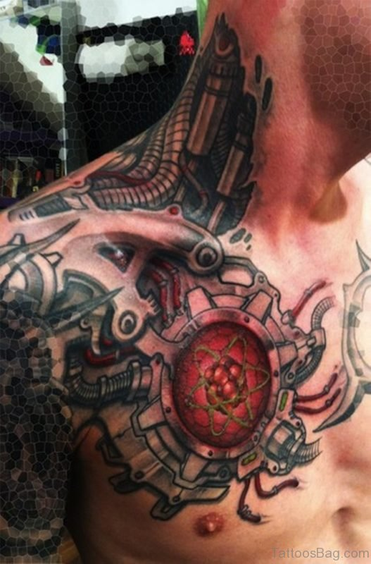 Mechanical Tattoo On Neck And Chest