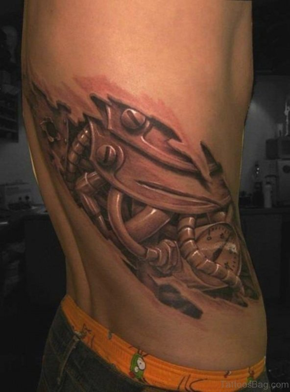 Mechanical Tattoo On Rib