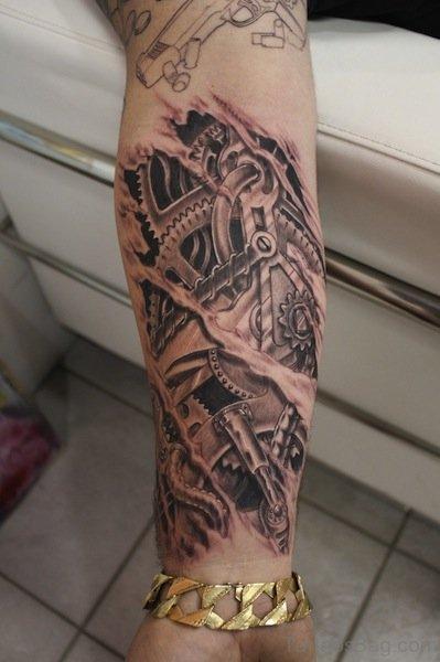 Mechanical Tattoo On Wrist