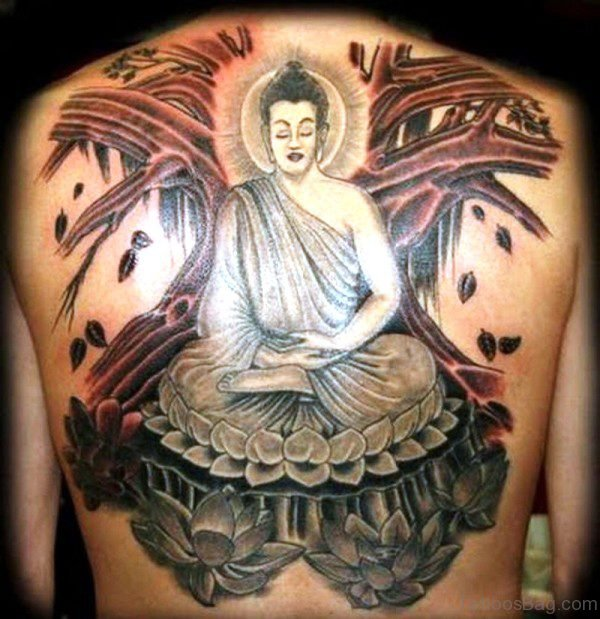 Meditating Buddha Tattoo On Back