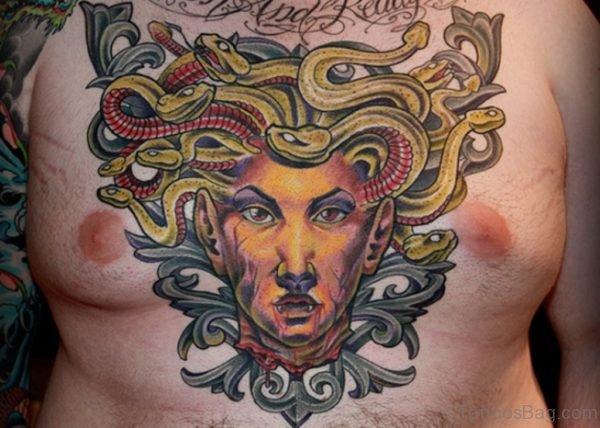 Medusa Head Tattoo On Chest For Men