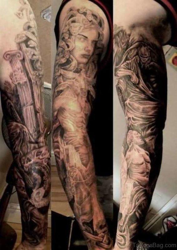 Medusa Tattoo Design On Full Sleeve