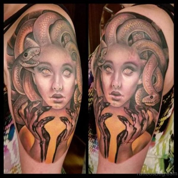 Medusa Tattoo Design On Shoulder