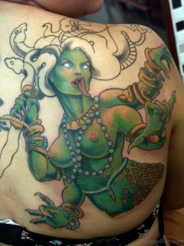 Medusa Tattoo On Back Shoulder