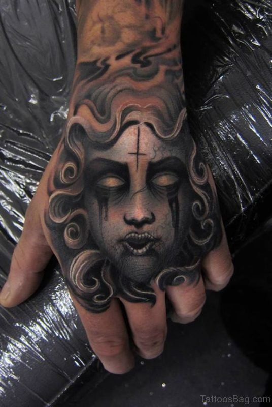 Medusa Tattoo On Hand