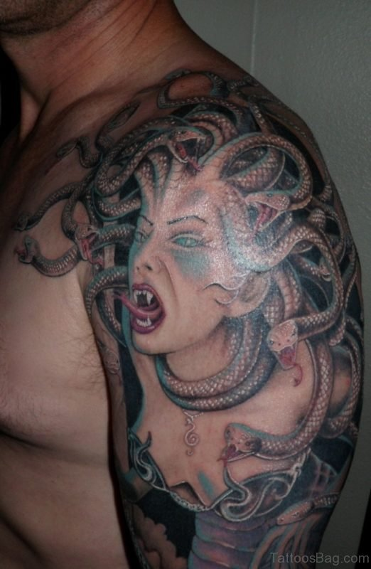 Medusa Tattoo On Left Shoulder For Men