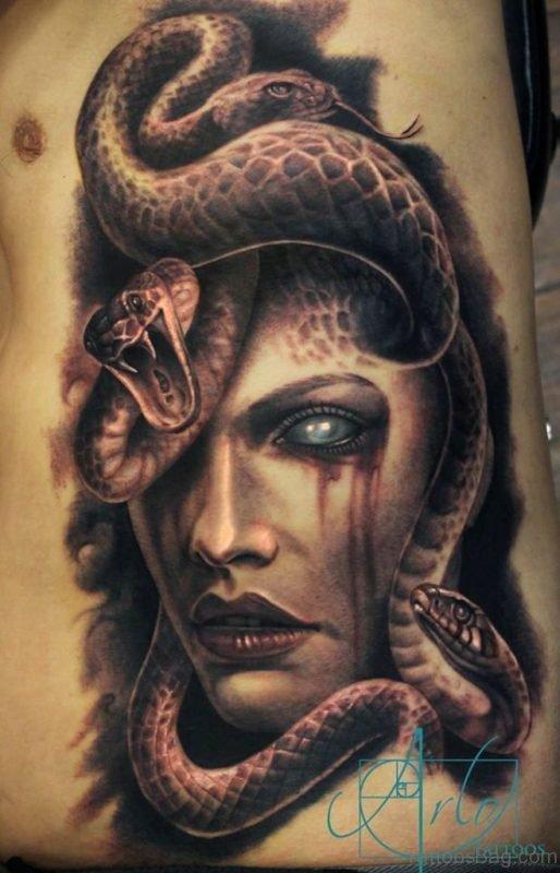 Medusa Tattoo design oN Rib