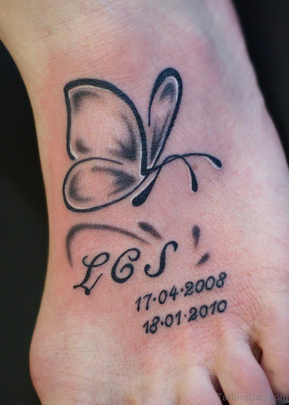 Memorial Butterfly Tattoo On Foot