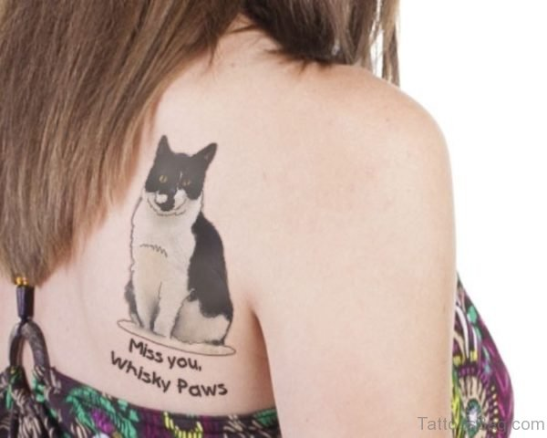 Memorial Cat Shoulder Tattoo