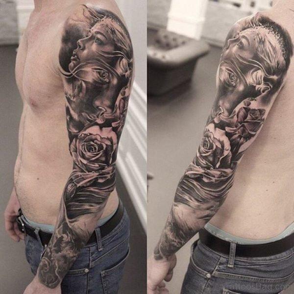 Memorial Girl Portrait Tattoo On Full Sleeve