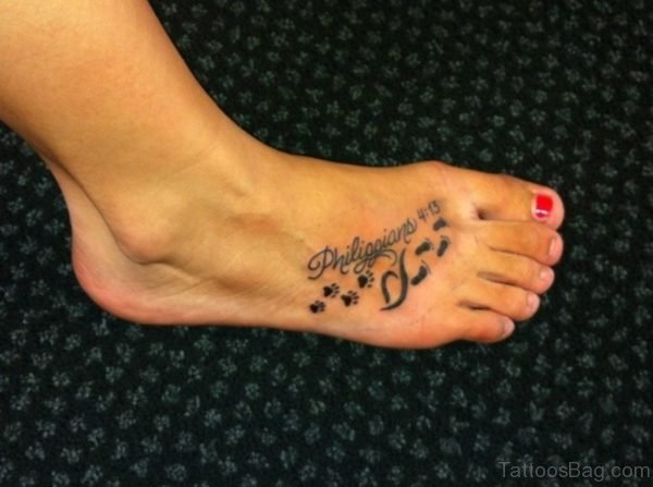 Memorial Paw Tattoo On Foot