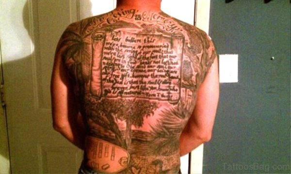 Memorial Scroll Tattoo On Full Back