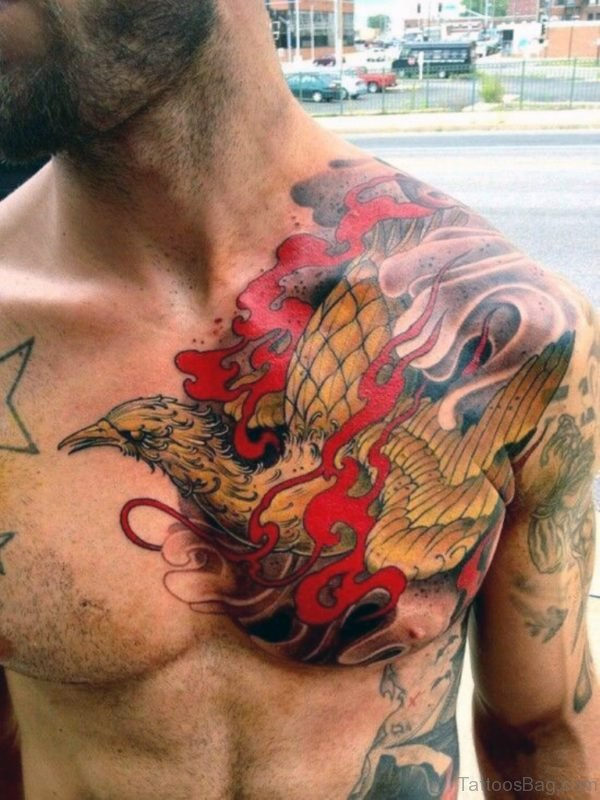 Mens Wings Chest Tattoo