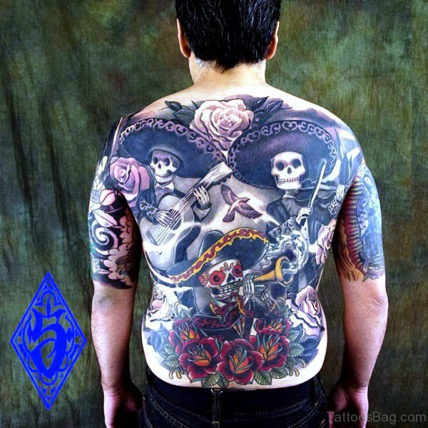 Mexican Musician Skeleton Tattoo Design