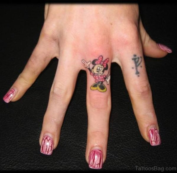 Mickey Mouse Tattoo On Finger