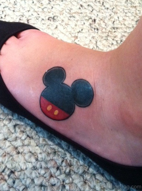 Mickey Mouse tattoo On Foot