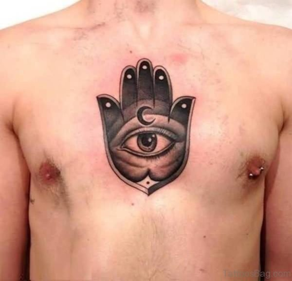 Mind Blowing 3D Eye And Moon Tattoo