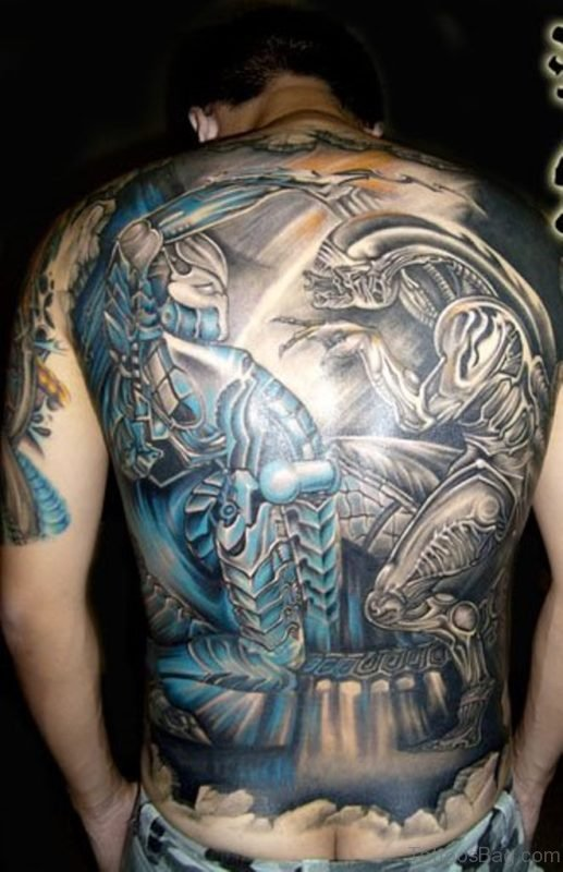 Mind Blowing Alien Tattoo On Back