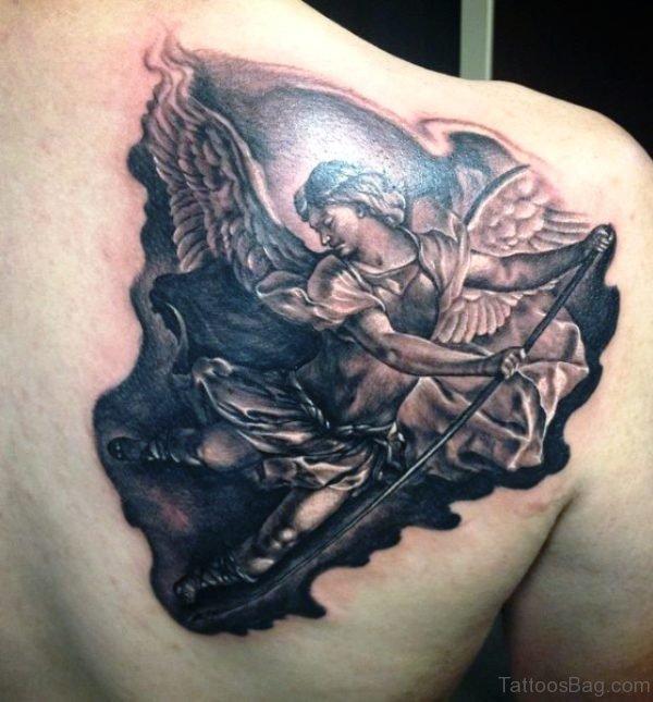 Mind Blowing Archangel Tattoo On Shoulder