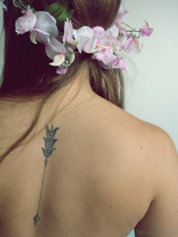 Mind Blowing Arrow Tattoo On Back