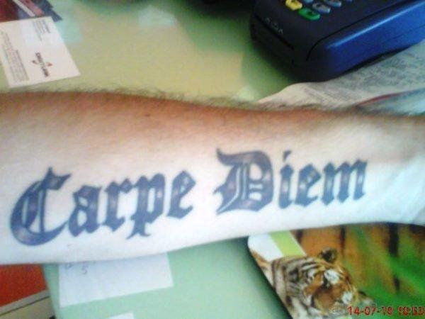 Mind Blowing Carpe Diem Tattoo On Arm