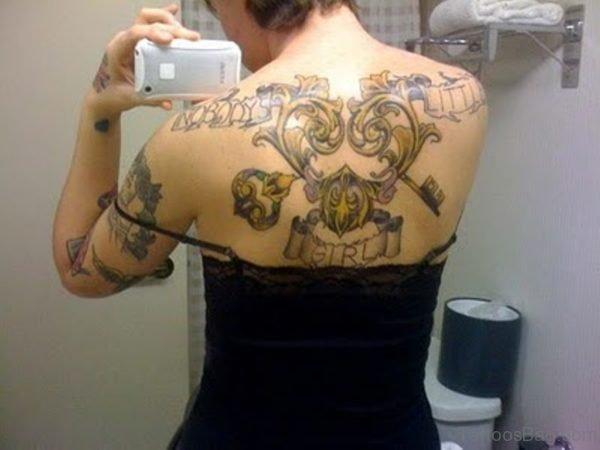 Mind Blowing Key Tattoo On back