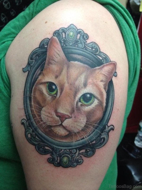 Mirror Cat Tattoo On Shoulder