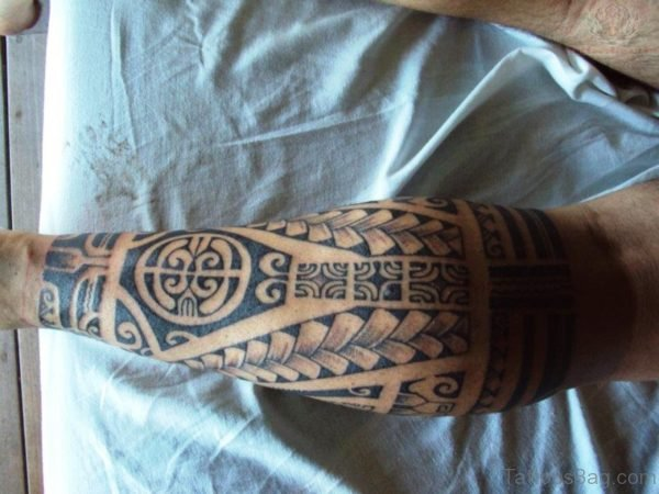 Modern Tribal Calf Tattoo For Men