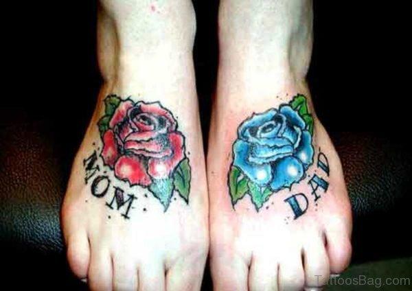 Mom Dad Blue Rose Foot Tattoo