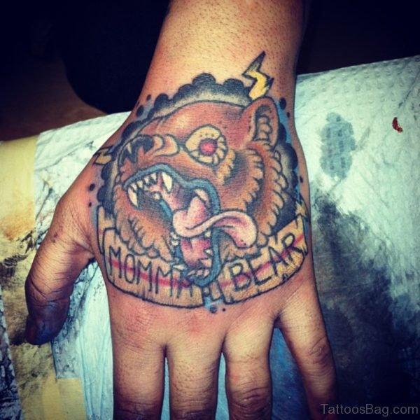 Momma Bear Tattoo On Hand