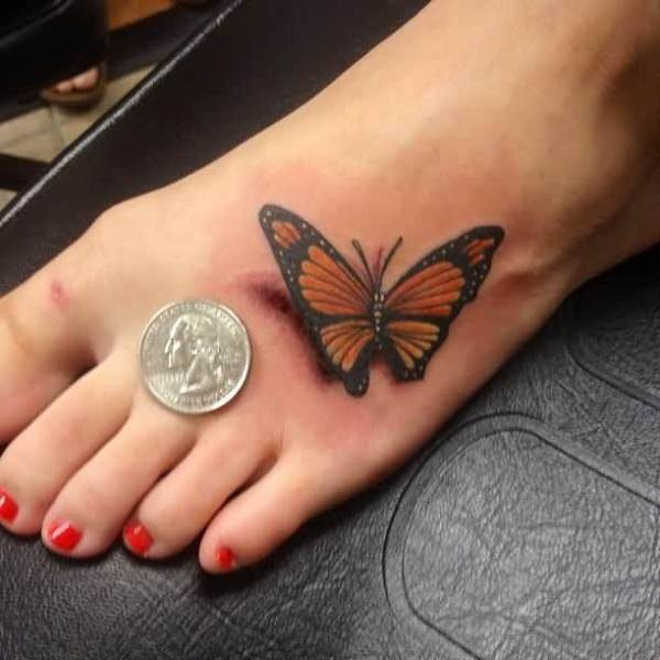 Monarch Butterfly Tattoo On Girl Foot