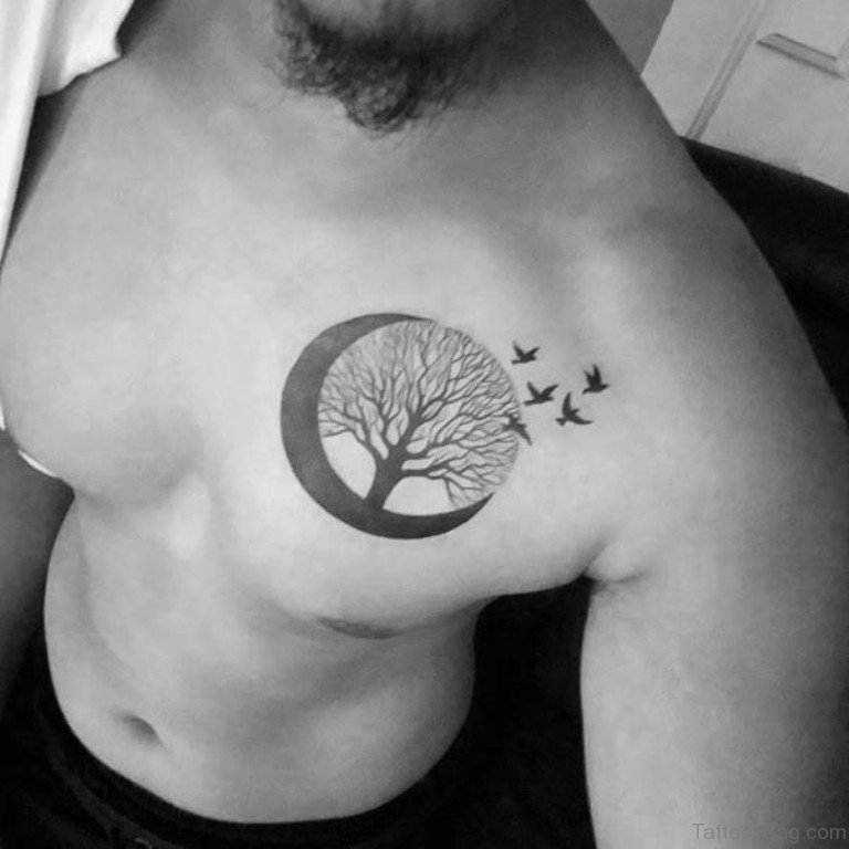 63 adorable moon tattoos for chest. Black Bedroom Furniture Sets. Home Design Ideas