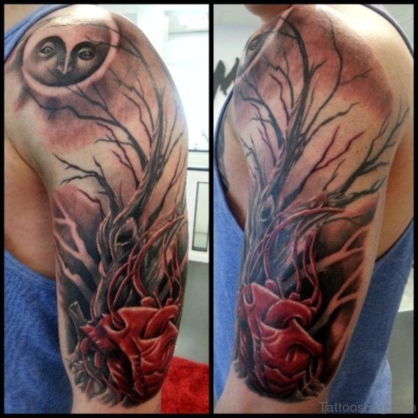 Moon And Tree Tattoo