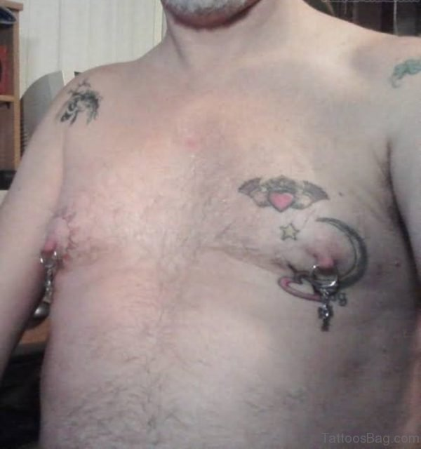 Moon Tattoo And Nipple Piercing For Men