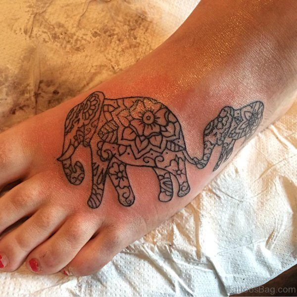 Mother And Child Elephant Tattoo On Foot