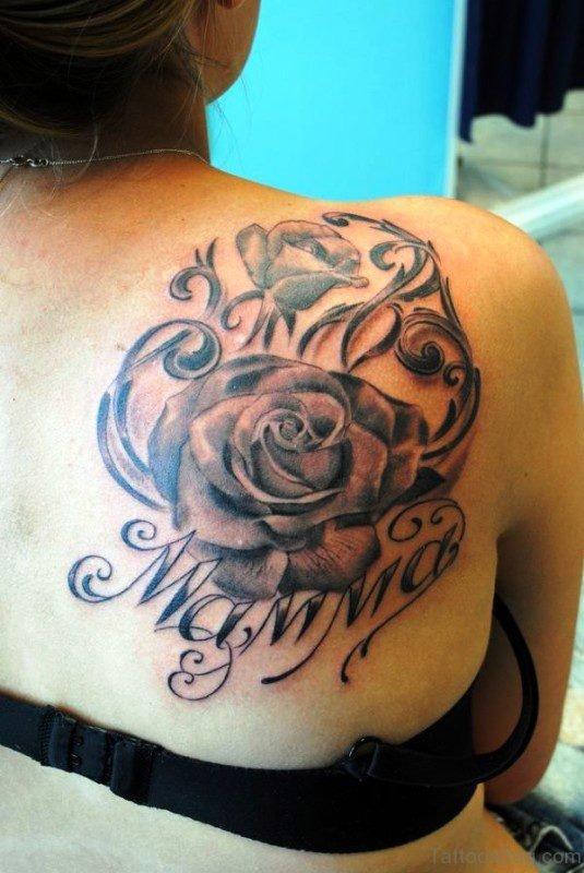 Mother Memorial Rose Tattoo On Shoulder