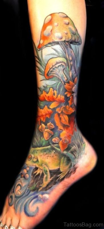 Mushroom Tattoo Design On Leg