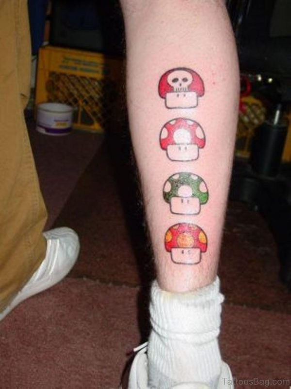 Mushroom Tattoo On Leg
