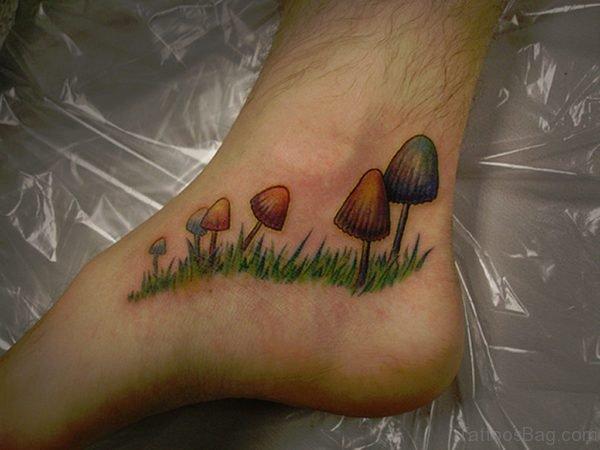 Mushroom Tattoos On Foot