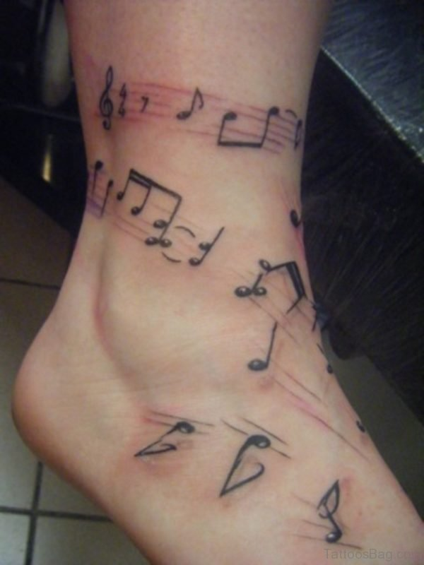 Music Notes Ankle Tattoo Design