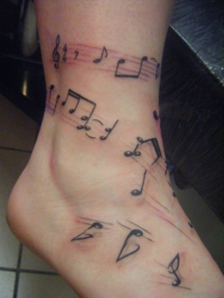 33 cute music notes tattoos on ankle